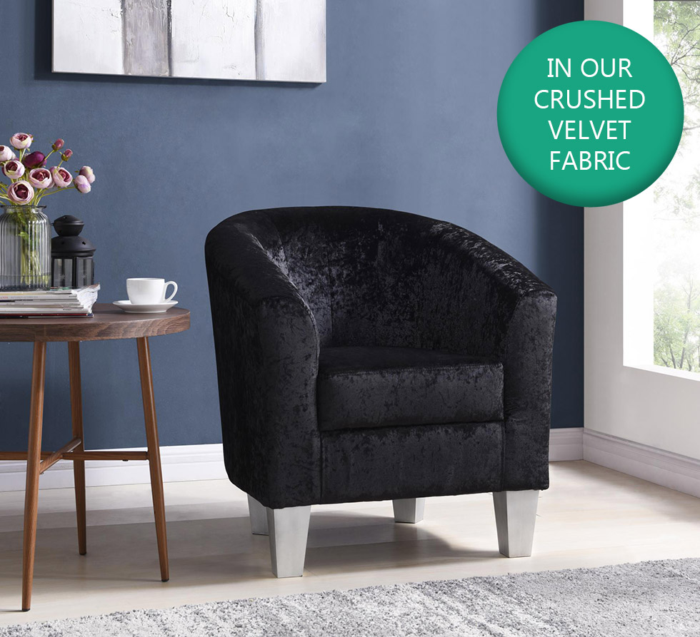 Designer Crushed Velvet Tub Chair Armchair Office Living