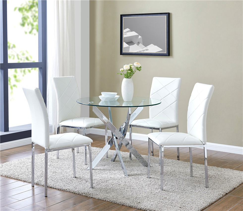 White Leather Dining Room Set: Glass Round Dining Table Set And 4 White Chairs Faux