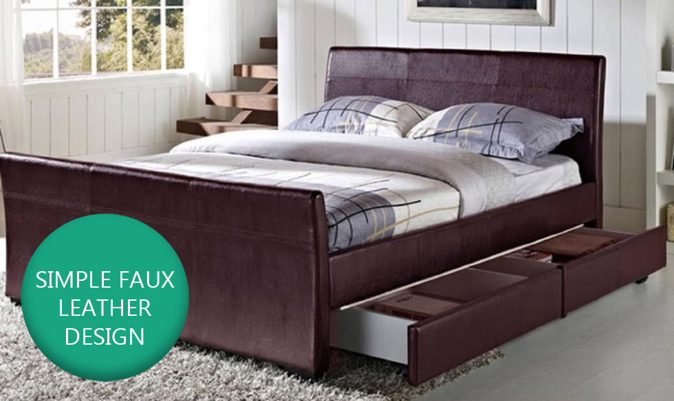 4 drawers faux leather storage sleigh bed double king size 20640 | 32105pic1