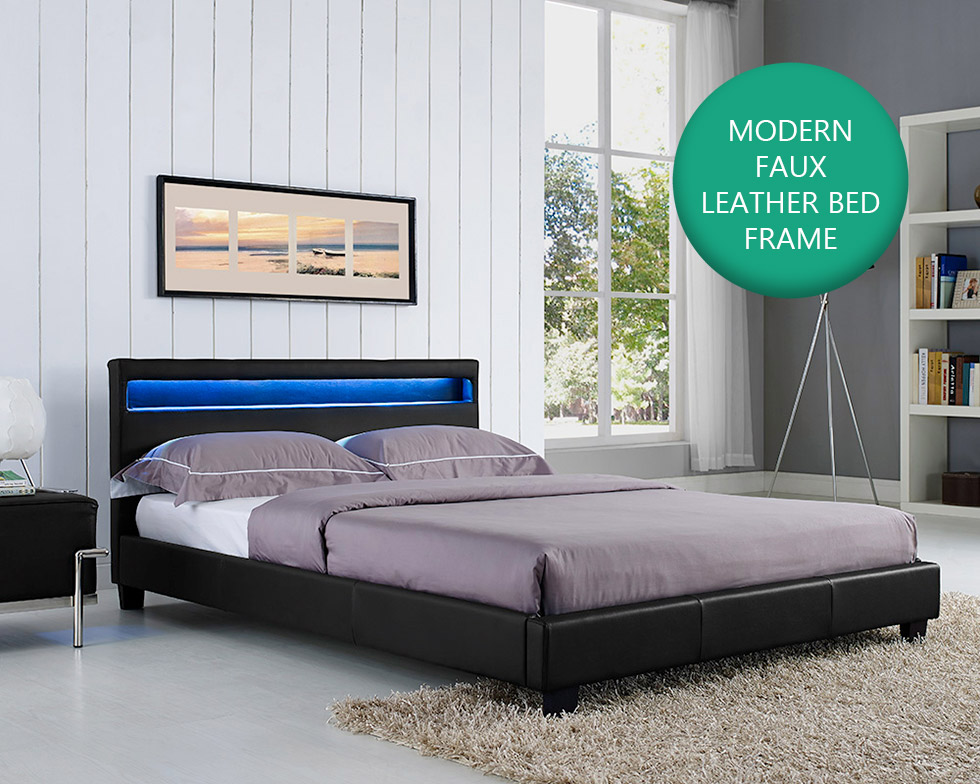 double king size bed frame led headboard night light and. Black Bedroom Furniture Sets. Home Design Ideas
