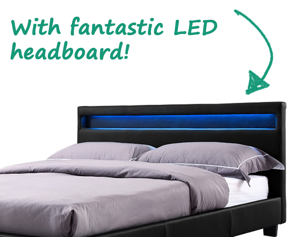king size headboard with unique table lamp   Double King Size Bed Frame LED Headboard Night Light and ...