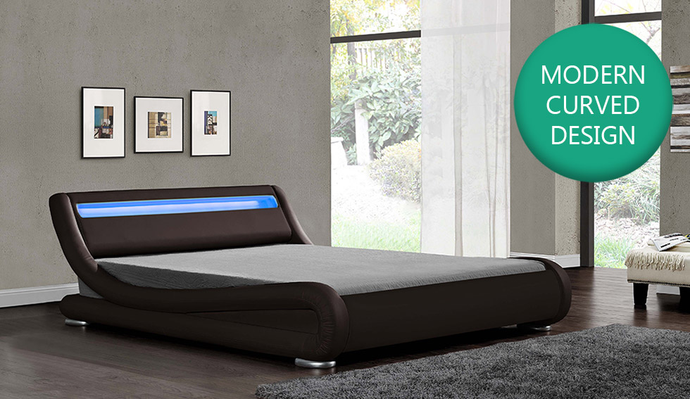 100% authentic cdb32 dce56 Details about LED Headboard Bed Double King Size Black White Brown Faux  Leather & Mattress New
