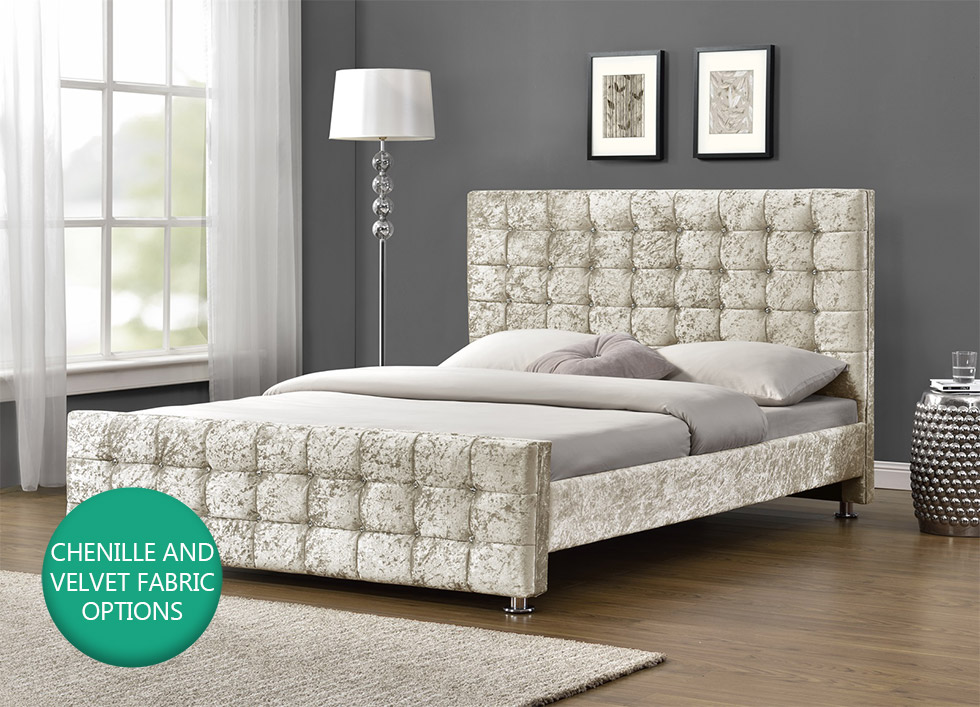 Diamante Upholstered Fabric Bed Frame Velvet Chenille