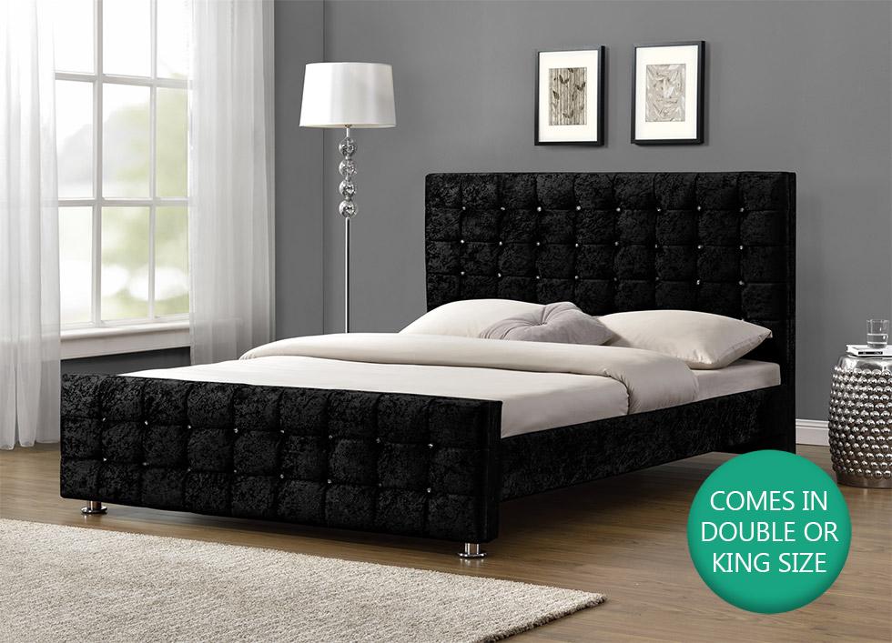 Diamante Upholstered Fabric Bed Frame Velvet Chenille