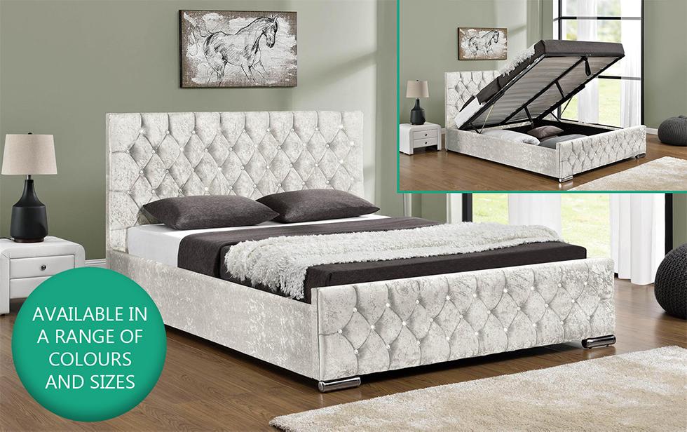 Ottoman Storage Upholstered Bed Frame Velvet Chenille Double King ...