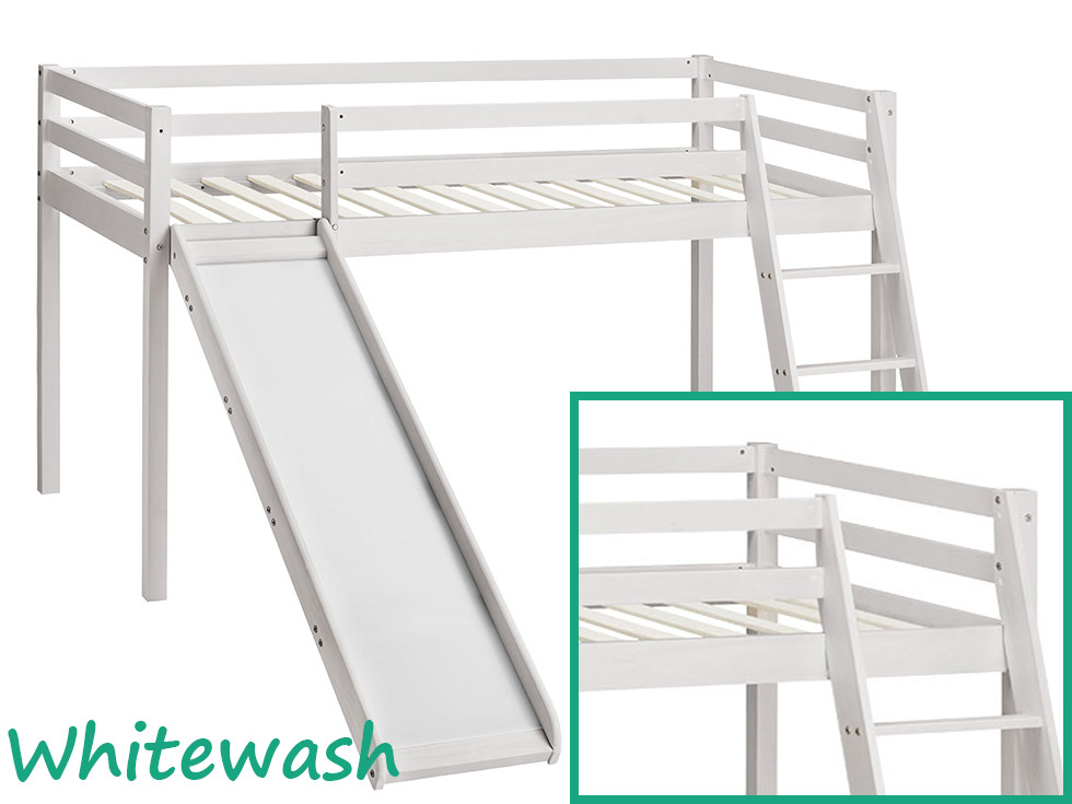 Kids Bunk Bed Mid Sleeper With Slide And Ladder Wooden