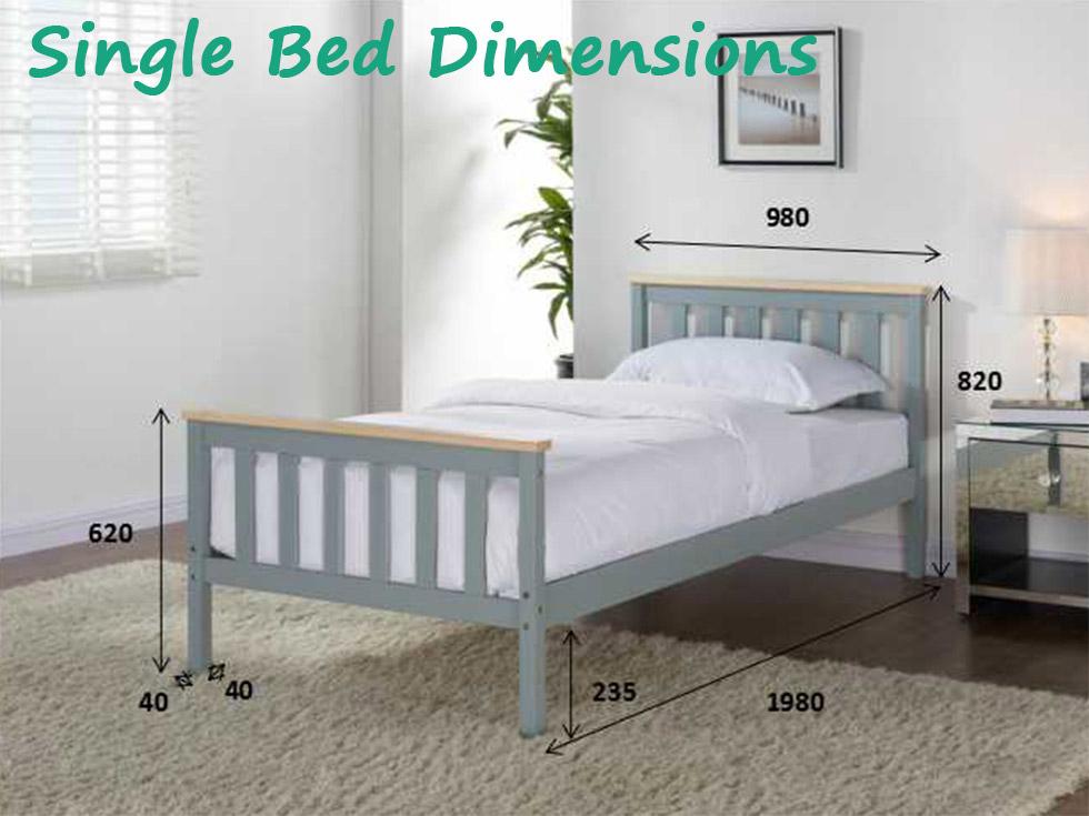 grey wooden bed frame pine double king single size solid. Black Bedroom Furniture Sets. Home Design Ideas