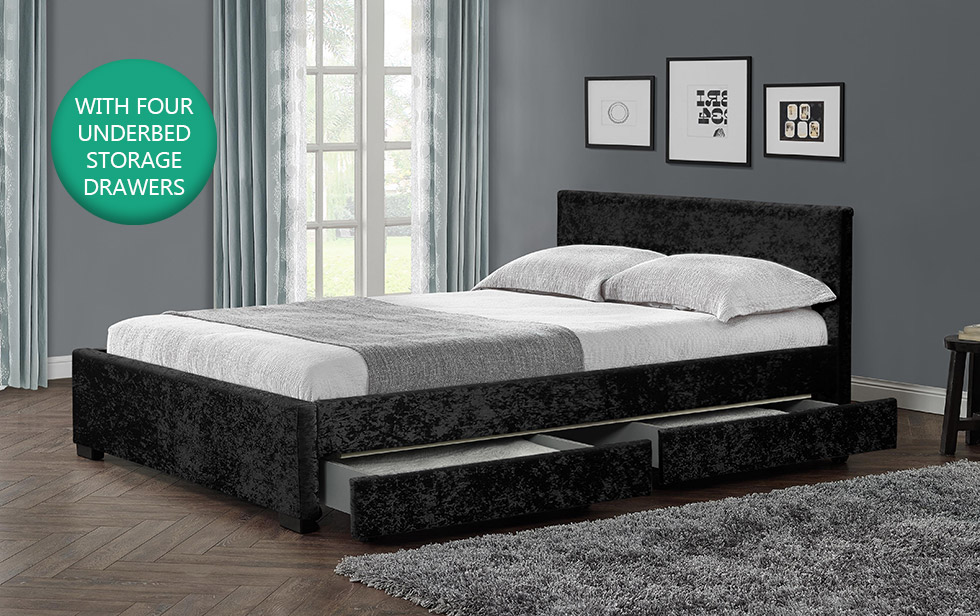 4 Drawer Storage Bed Frame Double King Crushed Velvet