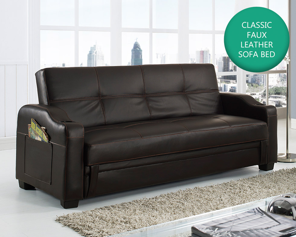 Details about Storage Sofa Bed with Cupholders Black Brown White Red Faux  Leather Living Room