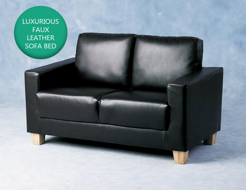 Black Faux Leather 2 Seater Sofa Modern Design Living Office